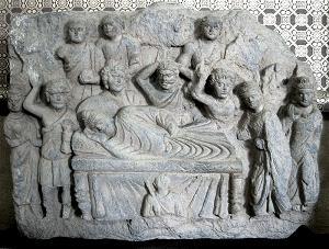 Mahaparinirvana, Gandhara 2-3rd century.