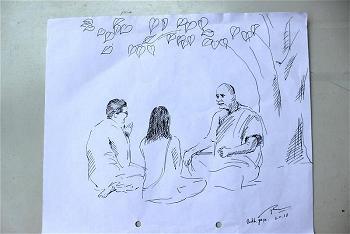 Tranh ký họa trên giấy của họa sĩ Hoàng Thanh Phong (Huế)