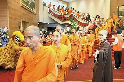 Monks from 27 countries attending the 10th World Buddhist Sangha Council General