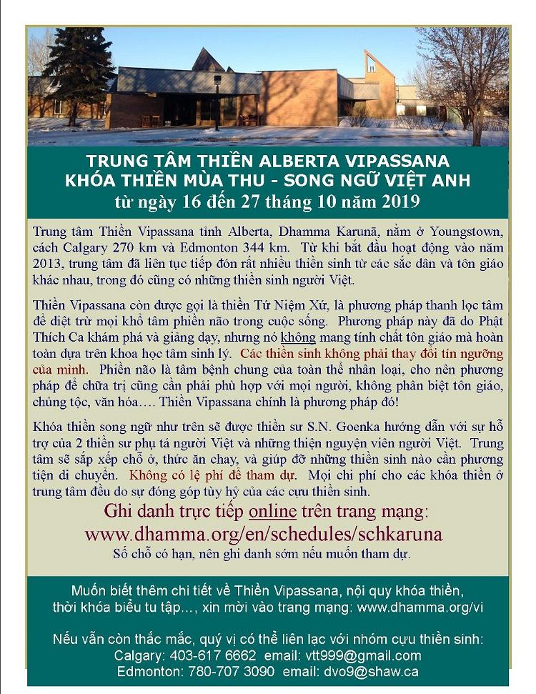 JPEG Poster for Karuna Vietnamese Vipassana course Oct 2019
