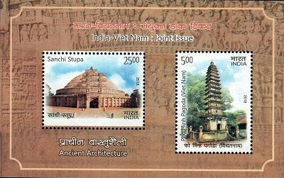 Tem-Phật Giáo Vietnamese stamps issued on January 25, 2018, together with India