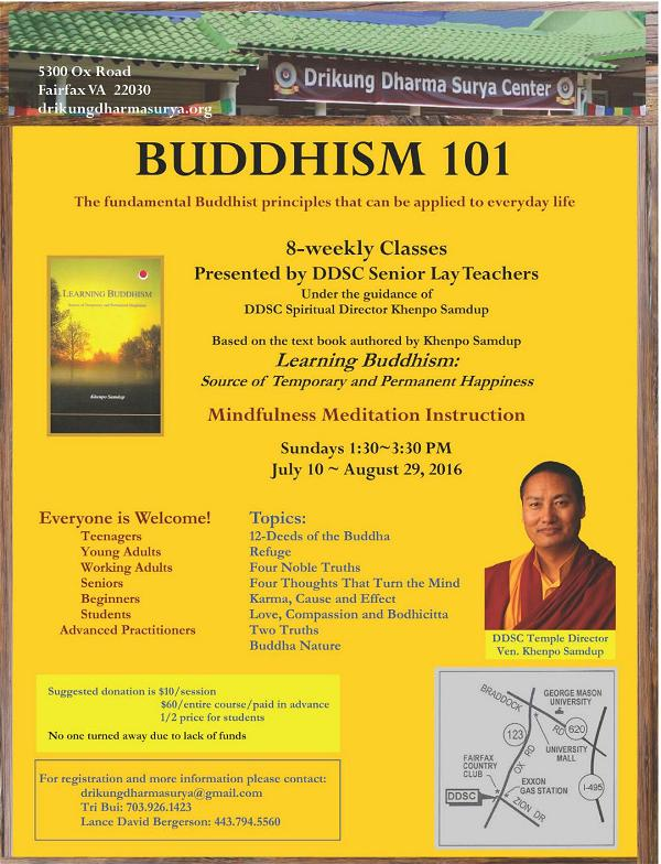 DDSC Buddhism 101 flyer