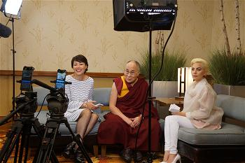 His Holiness the Dalai Lama joining Ann Curry and Lady Gaga for a Facebook Live interview  Photo Jeremy Russell OHHDL
