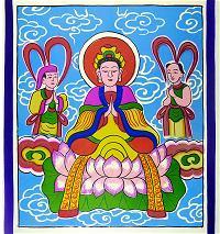 Tranh 3. Quan Âm có Kim Đồng và Ngọc Nữ bên cạnh