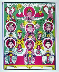 Tranh 1. Quan Âm và các vị thần linh Tam phủ