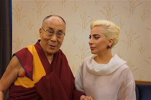 His Holiness the Dalai Lama with Lady Gaga before their appearance at the United States Conference of Mayors in Indianap
