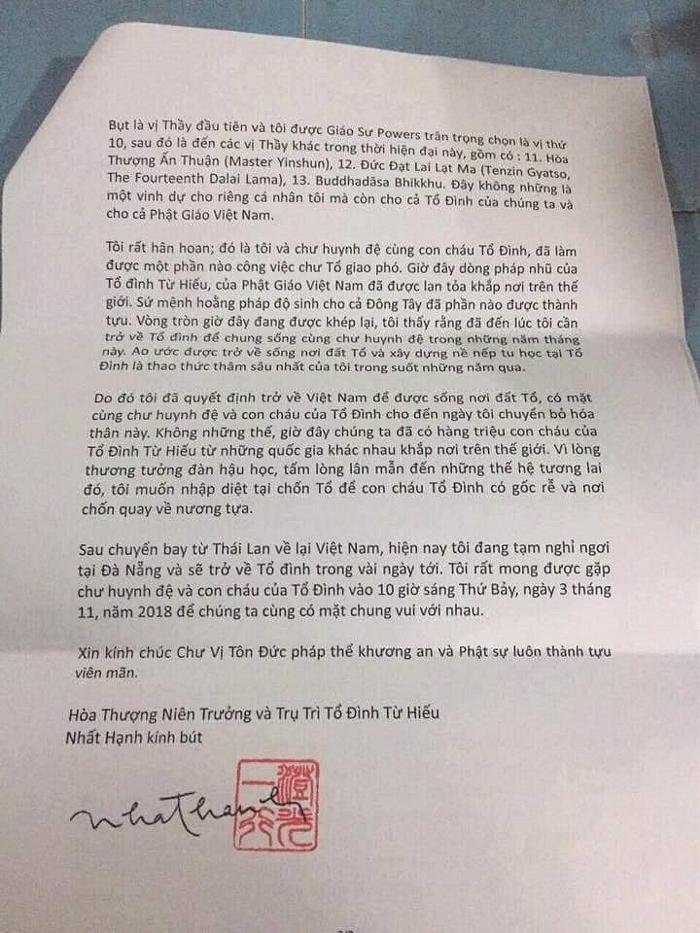 Thư của Thầy Nhất Hạnh gửi từ Đà Nẵng