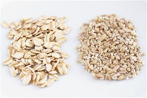 Rolled Oats (left) and Steel Cut Oats (right)