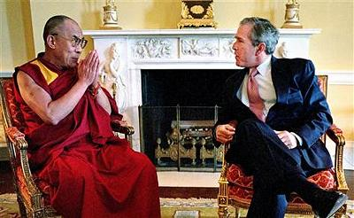 President Bush welcomes the Dalai Lama to the White House in May, 2001.