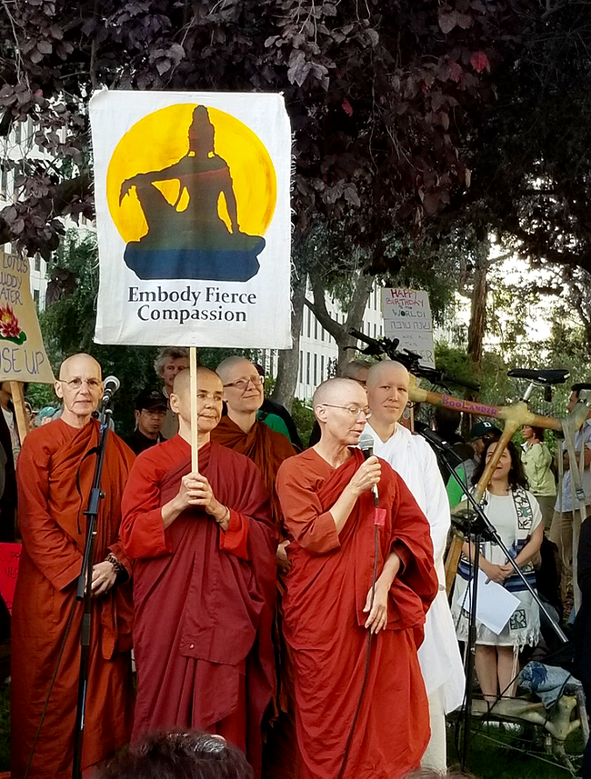 Hundreds of Buddhists join San Francisco climate march